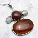 Large Carnelian and Moonstone Four Stone Pendant set in .925 Silver