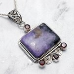 Large Charoite and Garnet Four Stone Pendant set in .925 Silver