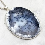 Large Merlinite & Silver Oval Pendant ~ 57mm