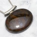 Large Pietersite & Silver Oval Pendant ~ 42mm