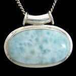 Larimar & Silver Pendant - Oval 38mm