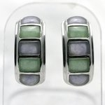 Lilac and Green Jade & Silver Cuff Studs ~20mm