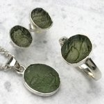 Moldavite & Silver Earrings, Pendant and Ring Set