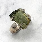 Moldavite & Silver Ring ~ 7 US Ring Size , O UK Ring Size