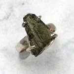 Moldavite & Silver Ring ~ 8 US Ring Size , Q UK Ring Size