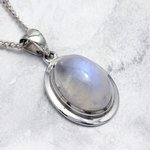 Moonstone & Silver Oval Pendant ~ 19mm