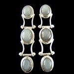 Moonstone & Silver Stud Earrings - Triple Stone 45mm