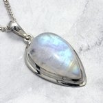 Moonstone & Silver Teardrop Pendant ~ 27mm