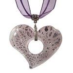 Murano Glass Heart Pendant with Cord & Clasp - 18inch (Mauve & Silver)