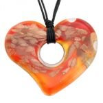 Murano Glass Heart Pendant with Cord & Clasp - 18inch (Red & Copper)
