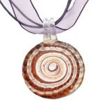 Murano Glass Swirl Pendant with Cord & Clasp - 18inch (Purple & Silver)