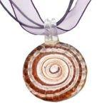 Murano Glass Swirl Pendant with Cord & Clasp - 18inch (Purple & Silver)