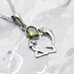 Peridot & Silver Dolphin and Goddess Pendant - 25mm