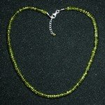 Peridot Faceted Bead Necklace ~18""