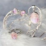 Pink Moonstone & Silver Earrings, Pendant and Ring Set