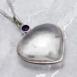 Quartz & Faceted Amethyst Silver Pendant - 38mm
