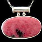 Rhodonite & Silver Pendant - Oval 43mm