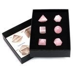 Rose Quartz Six Piece Platonic Solids Crystal Set