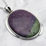 Ruby Zoisite & Silver Pendant - Designer Oval 45mm