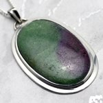 Ruby Zoisite & Silver Pendant - Oval 48mm