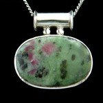Ruby Zoisite & Silver Pendant - Pipe Bail Oval 35mm