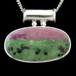 Ruby Zoisite & Silver Pendant - Pipe Bail Oval 39mm