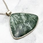 Seraphinite & Silver Pendant - Free Triangle 50mm