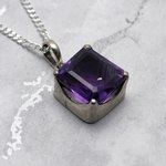 Siberian Amethyst Large Rectangle Pendant  ~16mm