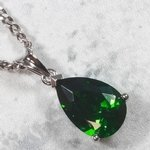 Siberian Quartz - Emerald Teardrop Faceted Pendant ~ 12mm
