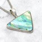 Silver & Abalone Shell Pendant - Wide Triangle 30mm