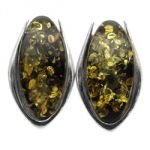 Silver & Amber Earrings - Large Oval 20mm