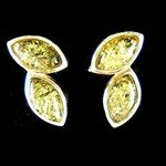 Silver & Amber Stud Earrings - Almonds 18mm