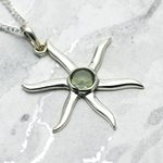Silver & Peridot Sunburst - 35mm