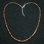 Sunstone Faceted Bead Necklace ~18""