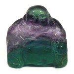 Superior Rainbow Fluorite Carved Sitting Buddha Statue