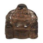 Superior Smoky Quartz Carved Sitting Buddha Statue