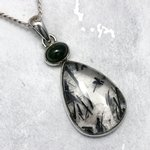 Tourmalinated Quartz with Emerald & Silver Pendant ~36mm