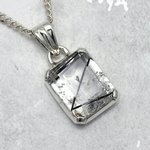 "Tourmalinated ""Z"" Quartz & Silver Pendant ~21mm"