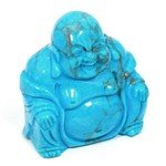 Turquoise Howlite Carved Sitting Buddha Statue