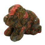 Unakite Carved Crystal Dog