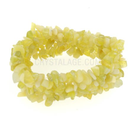 Lemon Jade Gemstone Chip Cuff Bracelet
