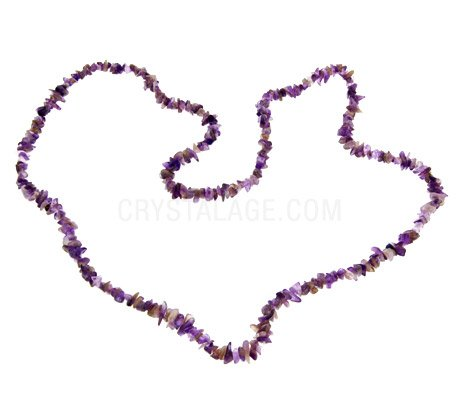 Amethyst Gemstone Chip Necklace ~35""