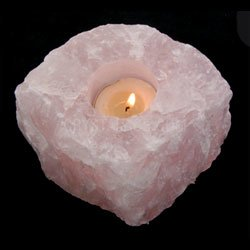 Natural Rose Quartz Tea Light Holder -