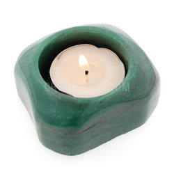 Green Aventurine Shallow Tea Light Holder