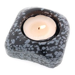 Snowflake Obsidian Shallow Tea Light Holder