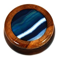 Wooden Jewel Box ~ Blue Agate, Medium