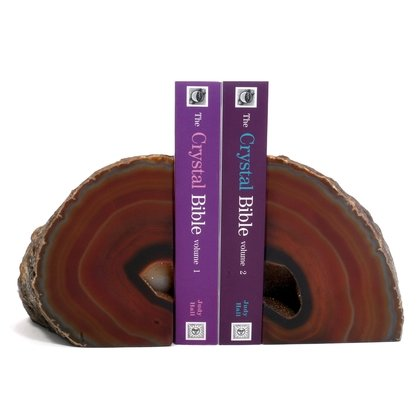 Agate Bookends ~16cm  Natural Brown