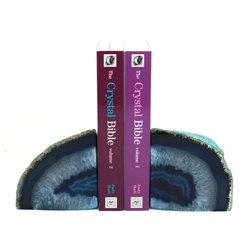 Agate Bookends ~17cm  Blue