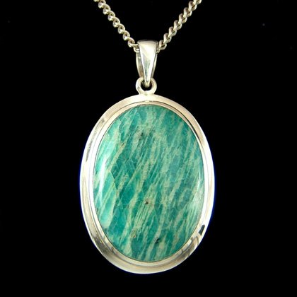 Amazonite & Silver Pendant - Thick Oval 35mm