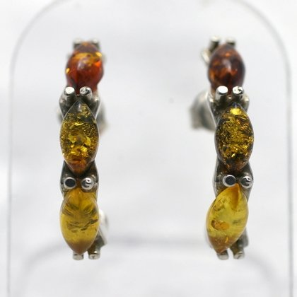 Three-Stone Amber & Silver Cuff Studs ~21mm